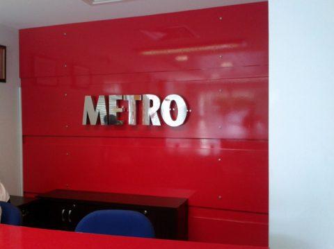 Paslanmaz Kutu harf tabela Metro